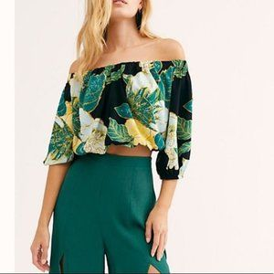 Free People Off the Shoulder Tropical Blouse